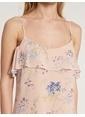 Koton Askılı Çiçek Desenli Uzun Elbise Pembe